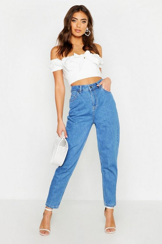 Womens Mid blue High Waisted Mom Jeans