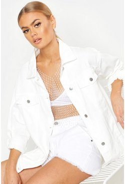 Womens White Oversize Denim Jacket