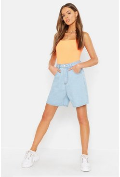 Womens Mid blue High Waist Longer Length Rigid Mom Shorts