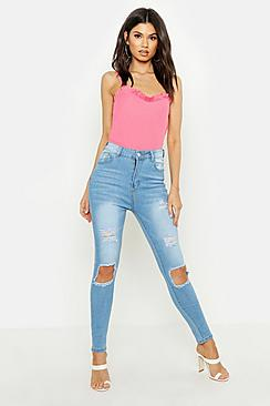 High Rise 5 Pocket Distressed Skinny Jean
