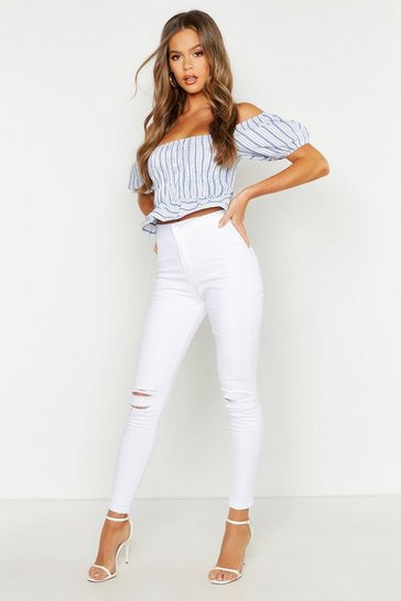 Womens White High Rise 5 Pocket Knee Rip Skinny Jeans