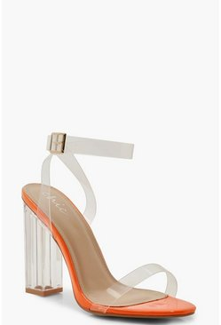 Womens Orange Neon Clear Heel 2 Parts