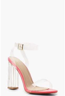 Womens Pink Neon Clear Heel 2 Parts