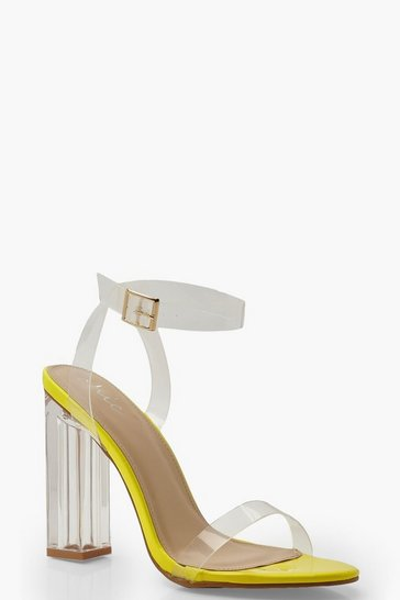 Womens Yellow Neon Clear Heel 2 Parts