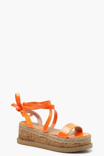 Womens Orange Neon Wrap Strap Flatform Sandals