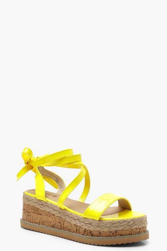 Womens Yellow Neon Wrap Strap Flatform Sandals