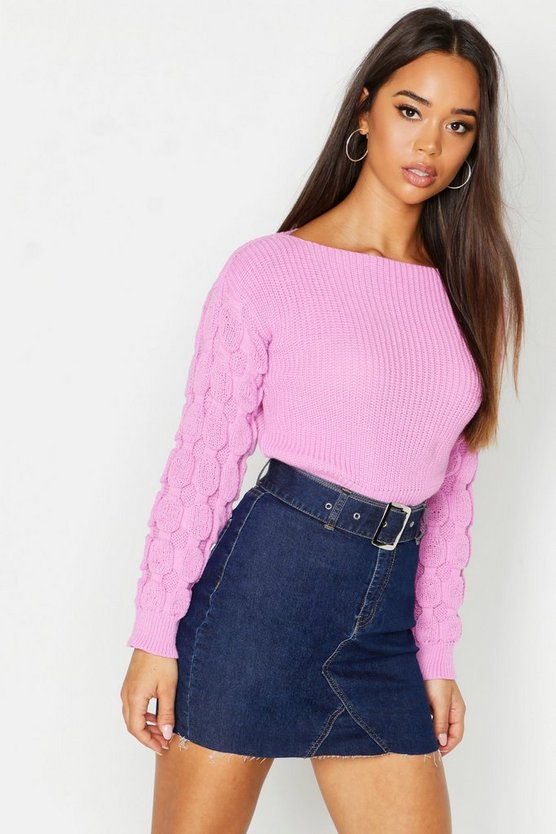 Womens Cherub pink Bobble Sleeve Crop Jumper