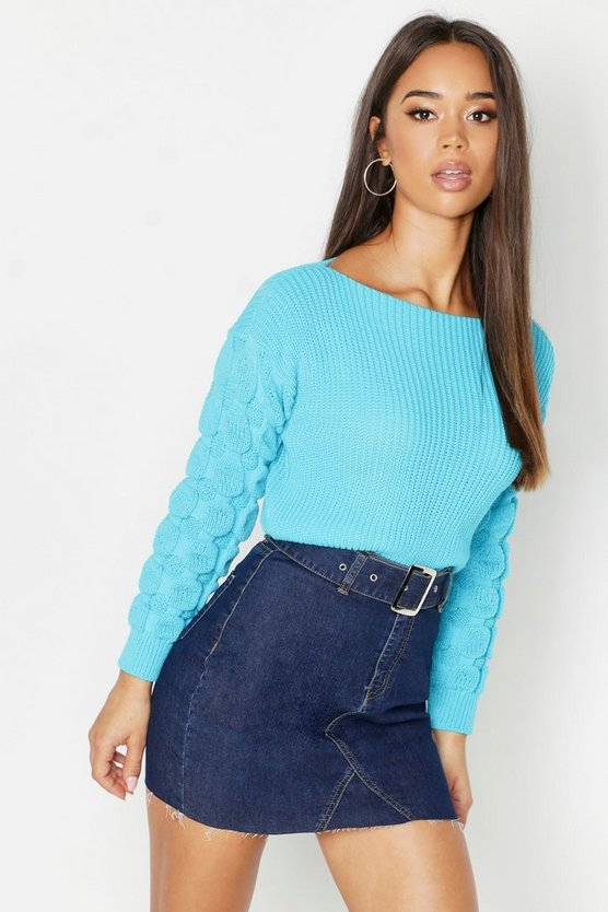 Womens Peacock blue Bobble Sleeve Crop Sweater