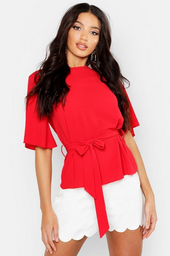 Womens Red Woven Tie Waist Angel Sleeve Peplum