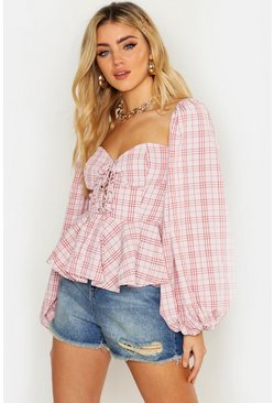 Womens Dusky pink Gingham Check Lace Up Peasant Peplum Top