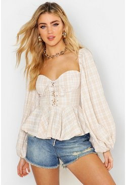 Womens Ecru Gingham Check Lace Up Peasant Peplum Top