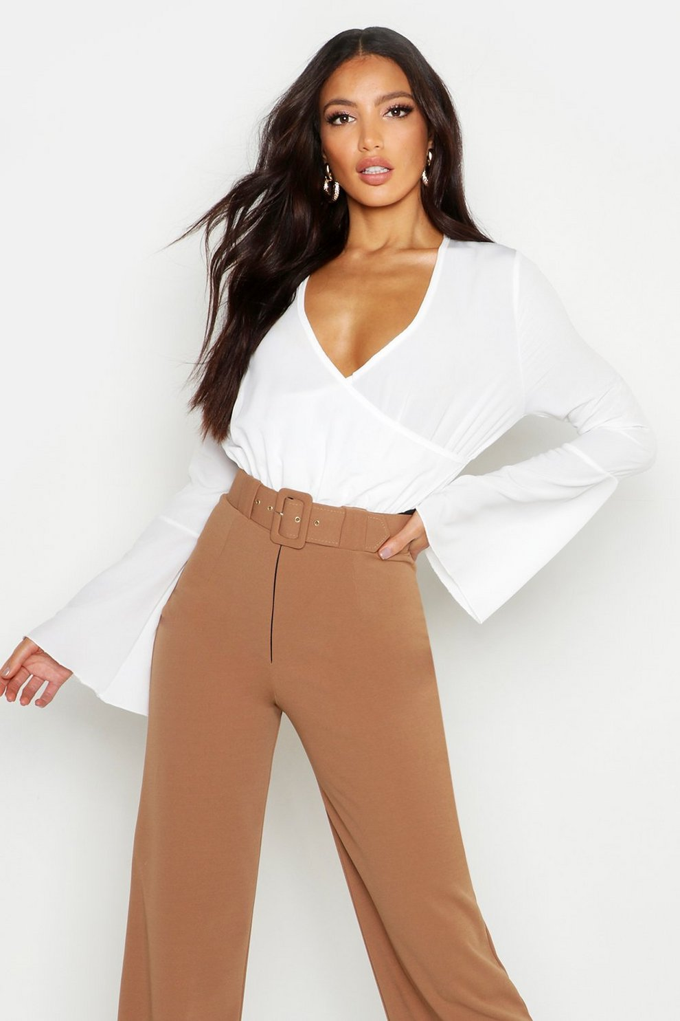22482c45054a Womens Cream Woven Wrap Flute Sleeve Bodysuit. Hover to zoom