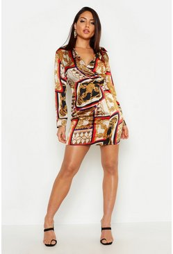 Womens Stone Satin Scarf Print Shirt Dress
