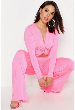 Womens Hot pink Twist Top & Wide Leg Trouser Co-Ord