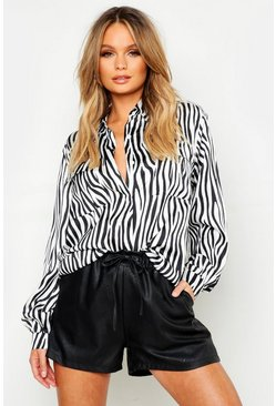 Womens Cream Utility Satin Zebra Print Shirt