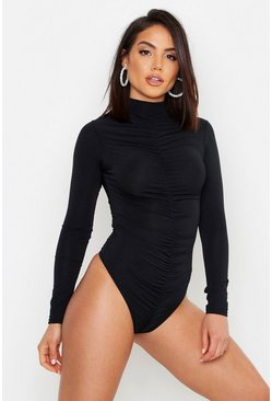 Womens Black Ruched Front Detail Bodysuit