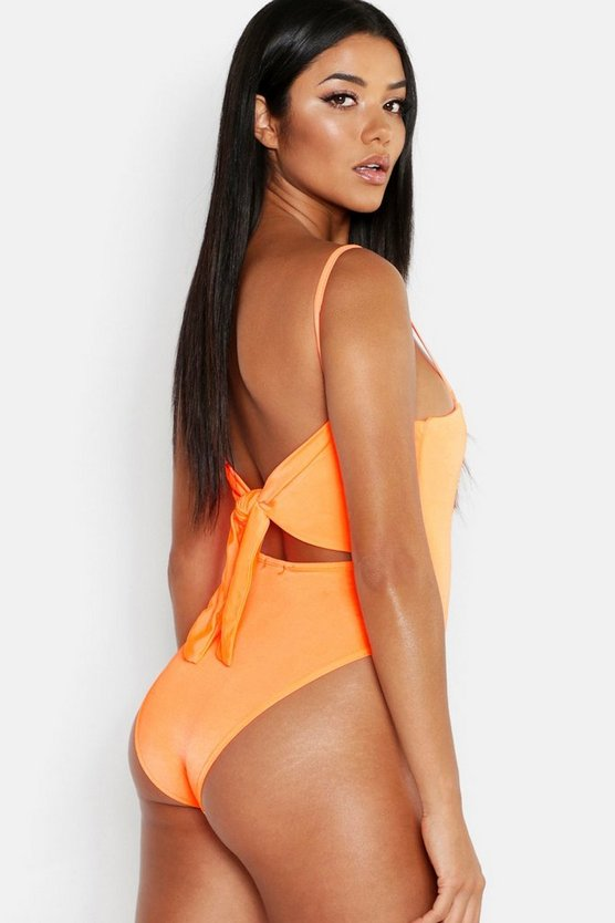 Womens Orange Tie Back Strappy Disco Bodysuit