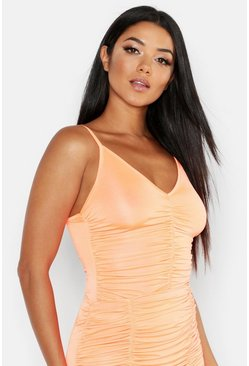 Orange Ruched Front Cami Top