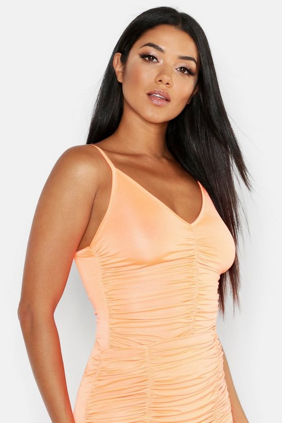 Womens Orange Ruched Front Cami Top