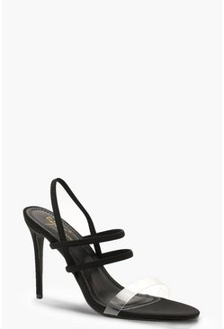 Womens Black Strappy Clear Strap Heels
