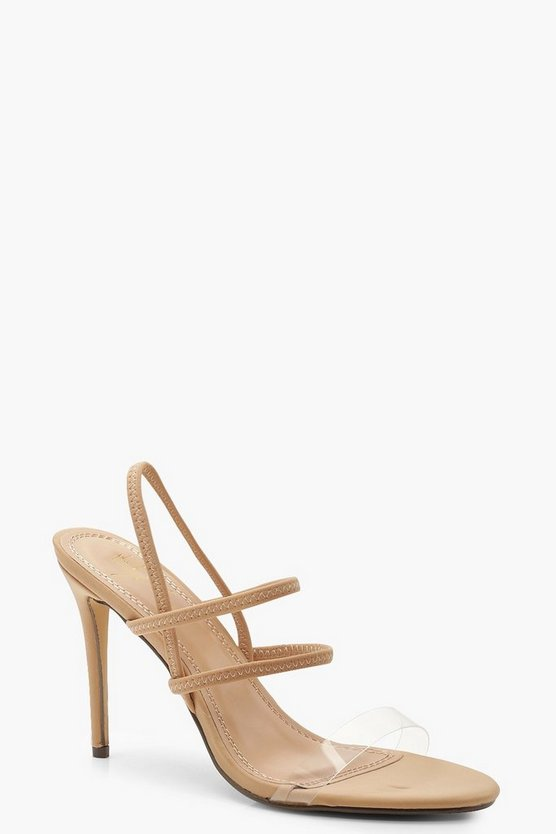 Womens Nude Strappy Clear Strap Heels