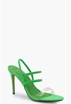Womens Green Strappy Neon Heels
