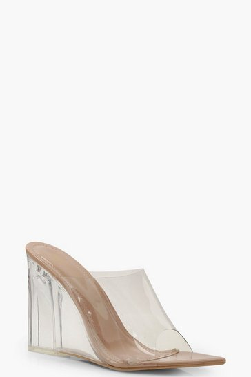 Womens Nude Clear Wedge Mules