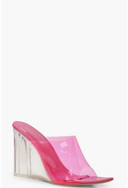 Clear Wedge Mules, Pink