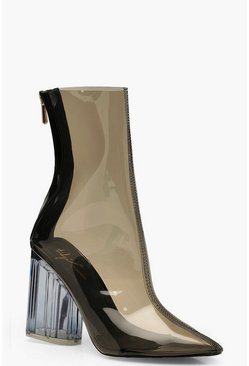 Womens Black Clear Block Heel Shoe Boots