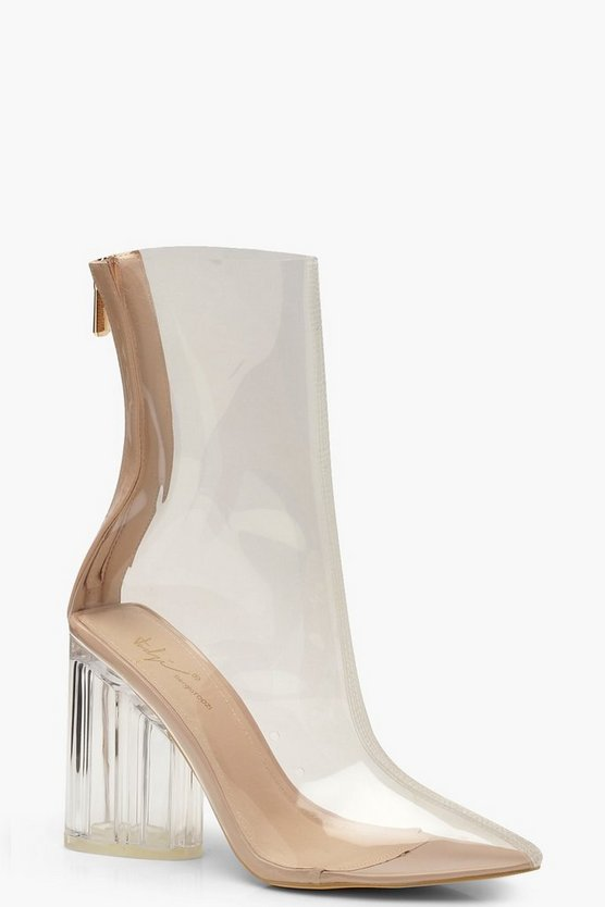 Womens Nude Clear Block Heel Shoe Boots
