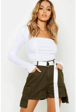 Womens Khaki Belted Cargo Pocket Shorts