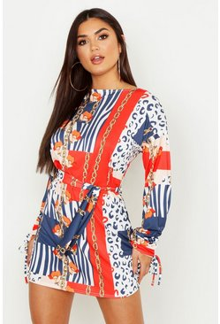 Womens Multi Nautical Chain Print Slash Neck Shift Dress