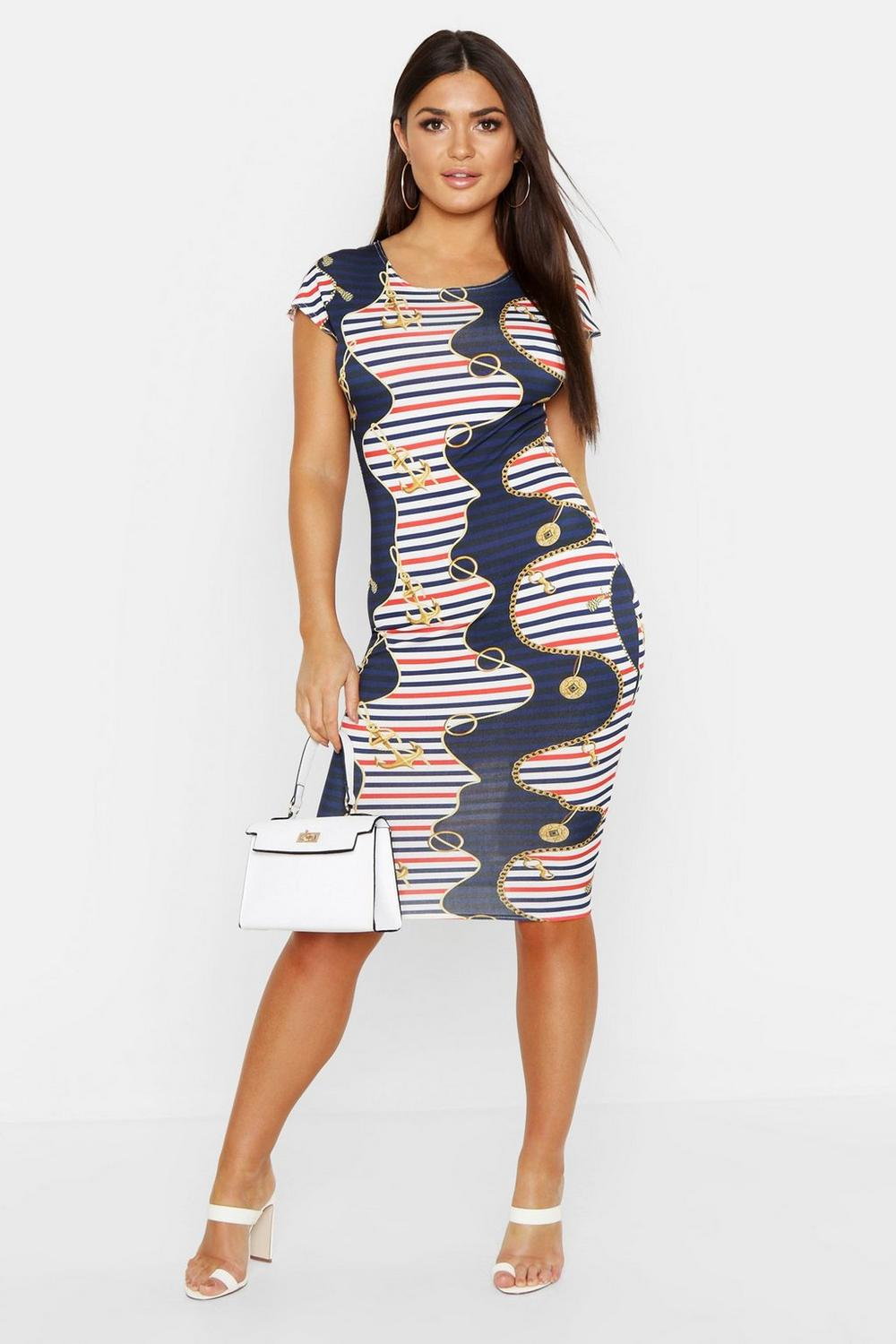 cccc0b4aa4 Womens Multi Nautical Chain Print Bodycon Cap Sleeve Midi Dress. Hover to  zoom