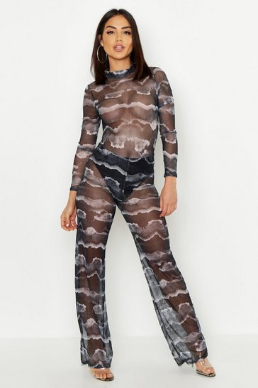 Womens Charcoal Tie Dye Mesh Pant Lined Loose Leg Trouser