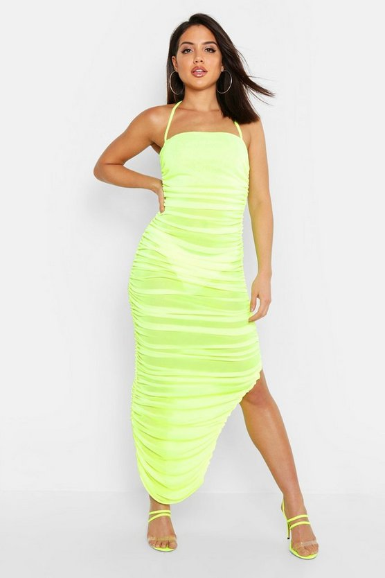 Lime Mesh Ruched Midaxi Dress