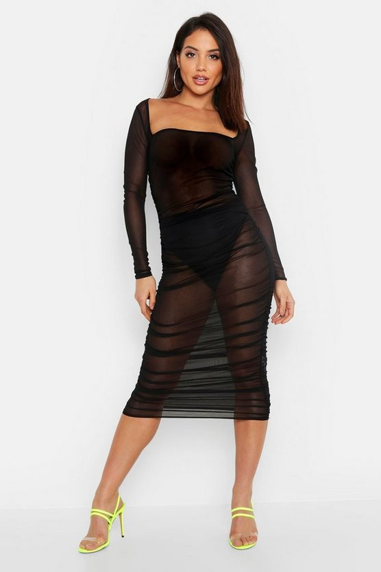 Womens Black Mesh Square Neck Bodycon Ruched Dress