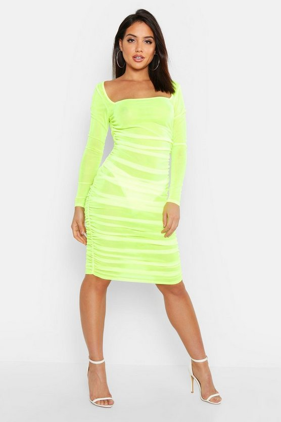 Mesh Square Neck Bodycon Ruched Dress, Lime, Donna