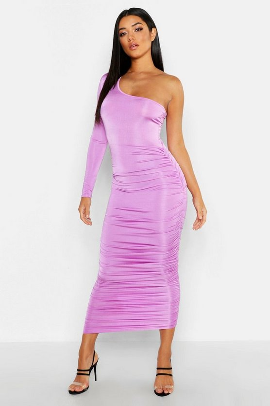 Lilac Long Sleeve Ruched One Shoulder Dress