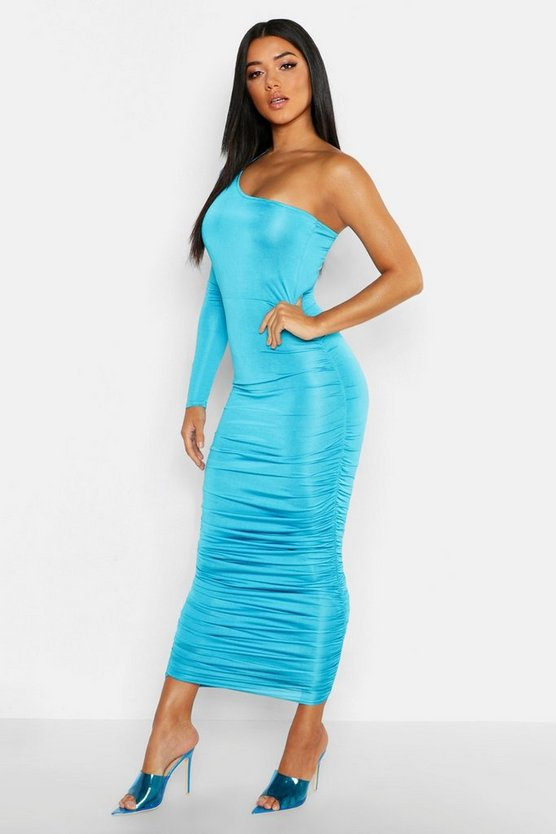 Long Sleeve Ruched One Shoulder Dress, Turquoise, Donna