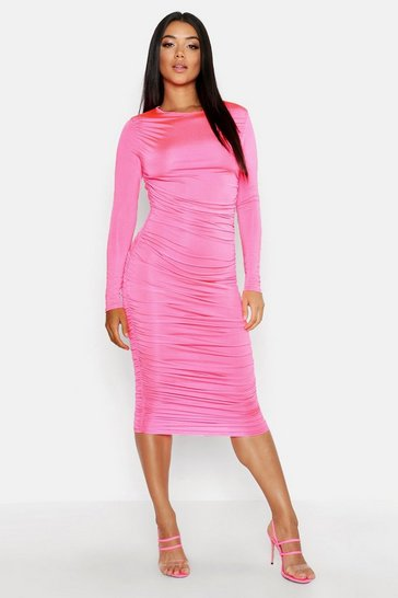 Womens Hot pink Ruched Side Midi Dress