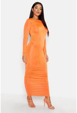 Womens Neon-orange Ruched Side Midi Dress