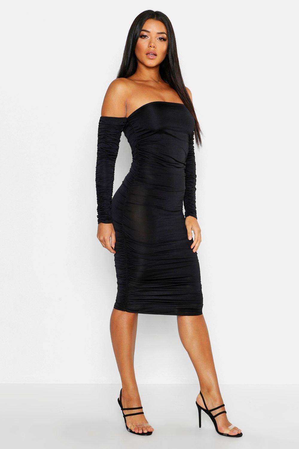 Off Shoulder Long Sleeved Ruched Mini Dress