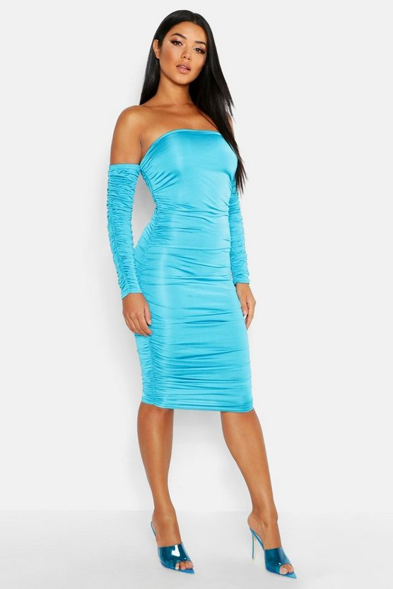 Off Shoulder Long Sleeved Ruched Midi Dress, Turquoise, Donna