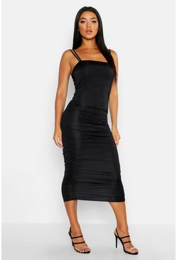Womens Black Ruched Side Bodycon Midi Dress