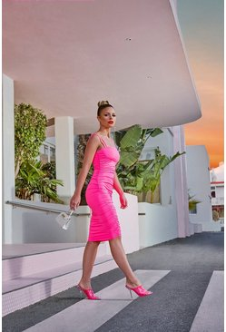 Womens Hot pink Ruched Side Bodycon Midi Dress