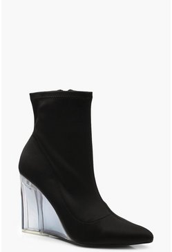 Womens Black Neon Clear Wedge Sock Boots