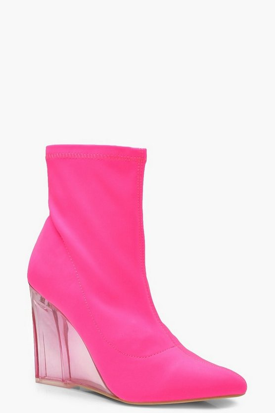 Womens Pink Neon Clear Wedge Sock Boots