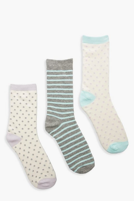 Spot & Stripe 3 Pack Socks