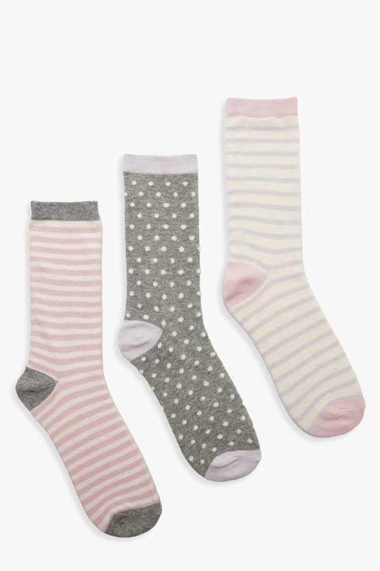 Womens Pink Spot & Stripe 3 Pack Socks
