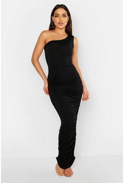 Womens Black Slinky One Shoulder Ruched Side Maxi Dress